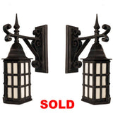Pair of Cast Iron Exterior Wall Lanterns