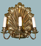Pair of Unusual  Shell Backed Three-Arm Brass Wall Sconces