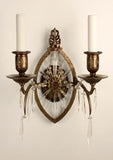 Pair of American E. F. Caldwell Bronze and Lead Crystal Wall Sconces
