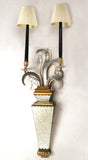 Pair of Two-Light Mirrored Wall Sconces