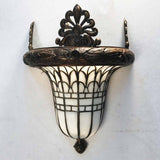 Pair of American Early 20th Century Bronze and Leaded Glass Wall Sconce