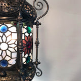 "19th Century ""Orientalist"" Gasolier Lantern with Stained Glass Panels"