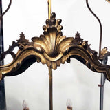 Antique Louis XV Style Five-Panel Bronze Hall Lantern