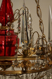 French Neoclassical Style Gilt Bronze and Ruby Glass Chandelier