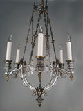 French Parcel-Gilt and Silvered Bronze Chandelier, in the Gothic Taste