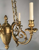 Belle Époque Louis XV Style Bronze Four-Light Chandelier