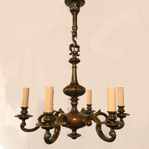 Dutch Style Bronze Six-Arm Chandelier