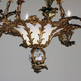 French Louis XV Style Rococo Bronze and Glass Eight-Light Chandelier