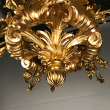19th Century Louis XV Style Giltwood 18-Light Chandelier