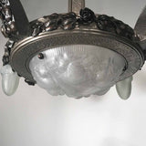 Art Deco Hammered Steel Four Arm Chandelier