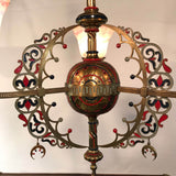 "French ""Orientalist"" Three-Light Enameled Brass Gasolier with Art Glass Shades"