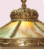 American Gilt Bronze and Slag Glass Hanging Fixture.