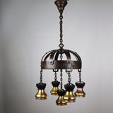 Arts & Crafts Wrought Iron and Steuben Aurene Chandelier