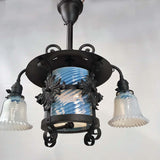 American Wrought Iron and Opaline Glass Gas/Electric Lantern