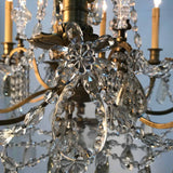 Maison Baguès Nine-Arm Bronze and Crystal Chandelier