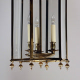 Neoclassical Brass and Bent Glass Lantern