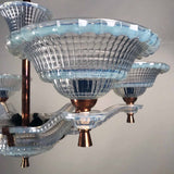Art Deco Opulence Glass and Copper Chandelier by Ezan
