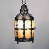 Arts and Crafts Brass and Mica Hanging Lantern
