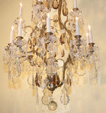 Louis XV Style Gilt Bronze and Crystal Fifteen-Light Chandelier