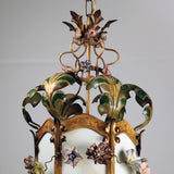 Louis XV Provincial Style Polychrome Tôle and Glass Hanging Lantern