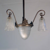 French Art Deco Patinated Bronze Pendant with Three Art Glass Shades