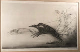 "Louis Icart ""Speed 2"" Hand Colored Aquatint Signed and with Blind Stamp"