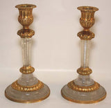 Pair of Rock Crystal and Gilt Bronze Candlesticks