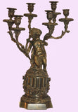 Pair of Bronze Figural Six-Arm Candelabra