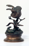 Bronze of Sparrow and Lizard by Jules Moigniez