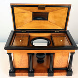 Superb English Regency Satinwood and Ebonized Tea Caddy