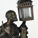 Antique French Amusing Bronze Figure of Diogenes, a Desk Set