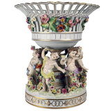 Dresden Porcelain Figural Centrepiece Raised Fruit Bowl