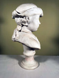 Pair of French White Cast Marble Busts of Children