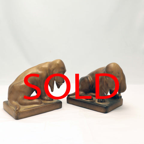 Pair of Rookwood Pottery Hound Bookends