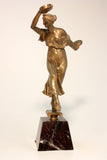 Bronze Sculpture of Lady with Tambourines Signed S Lugli