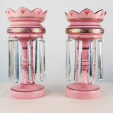 Pair of Pink Cased Bristol Glass Table Lustres