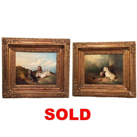 Pair of Victorian Terrier dog Oil Paintings