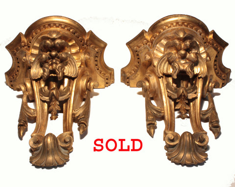Pair of George III Carved and Gilt, Wall Brackets