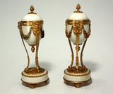 Pair of Antique French Louis XVI Style Gilt Bronze-Mounted Marble Cassolettes