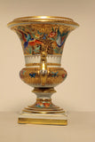 Pair of Paris Empire Style Porcelain Urns, Painted and Gilt