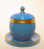 French Antique Baccarat Blue Opaline Ovoid Covered Bowl on Stand