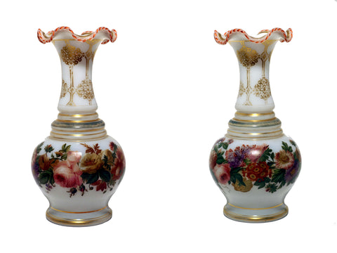 Pair of White Opaline Baluster Vases with Floral Band and Gilt