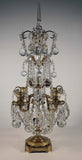 Pair of French Louis XVI Bronze and Cut Lead-Crystal Girandoles