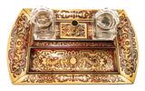 Napoleon lll Boulle Cut Brass and Scarlet Inkstand