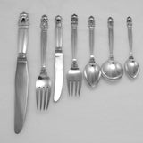 Georg Jensen Acorn Sterling Silver Flatware Set for 12 and Persons 126 Pieces