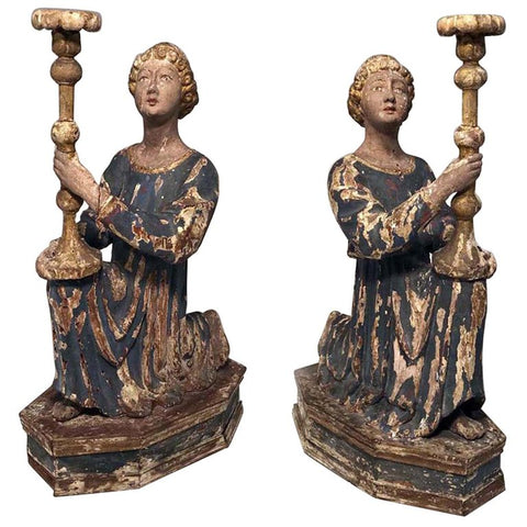 Pair of 18th C Italian Carved Limewood Candlesticks, Modelled as Kneeling Angels