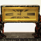 French Cold-Painted Bronze and Marble Art Deco Chinoiserie Mantel Clock