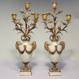 Pair of Louis XVI Style Marble and Gilt Bronze Candelabra
