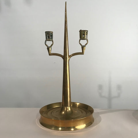 Pair of Arts & Crafts Brass Two Light Candelabras