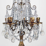 Pair of French Louis XVI Style Gilt Bronze and Crystal Five-Light Girandoles